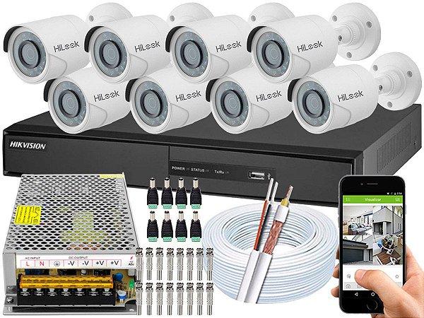 Kit CFTV Hikvision 08 Câmeras THC-B120C-P e DVR de 08 Canais DS-7208 Sem HD