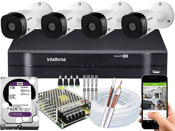 Kit CFTV Intelbras 04 Câmeras VHL 1120 B e DVR de 04 Canais MHDX 1104 1TB WD Purple