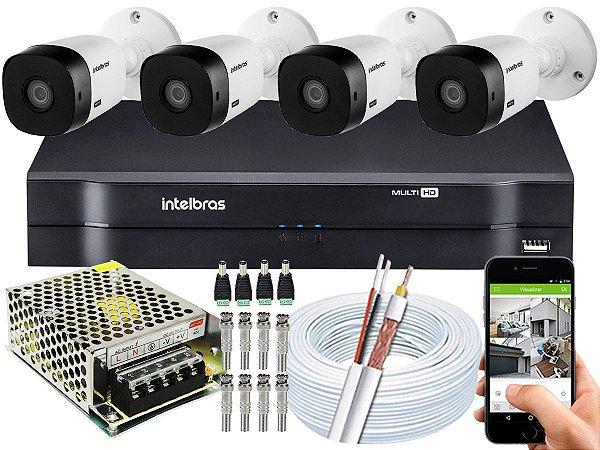 Kit CFTV Intelbras 04 Câmeras VHL 1120 B e DVR de 04 Canais MHDX 1104 Sem HD