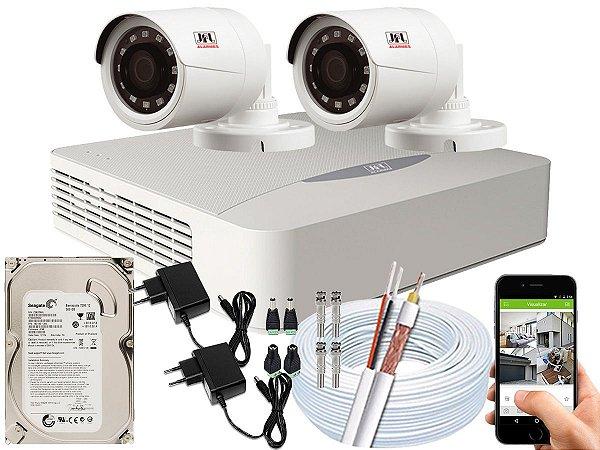 Kit CFTV JFL 02 Câmeras CHD-1230P e DVR de 04 Canais DHD-2104N 500GB