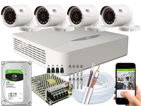 Kit CFTV JFL 04 Câmeras CHD-1230P e DVR de 04 Canais DHD-2104N