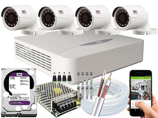 Kit CFTV JFL 04 Câmeras CHD-1230P e DVR de 04 Canais DHD-2104N 1TB WD Purple