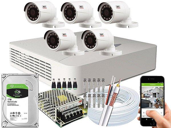 Kit CFTV JFL 05 Câmeras CHD-1230P e DVR de 08 Canais DHD-2108N