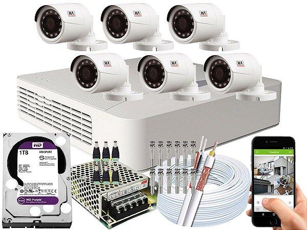 Kit CFTV JFL 06 Câmeras CHD-1230P e DVR de 08 Canais DHD-2108N 1TB WD Purple
