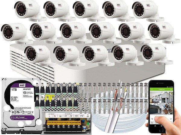 Kit CFTV JFL 16 Câmeras CHD-1230P e DVR de 16 Canais DHD-2116N 1TB WD Purple