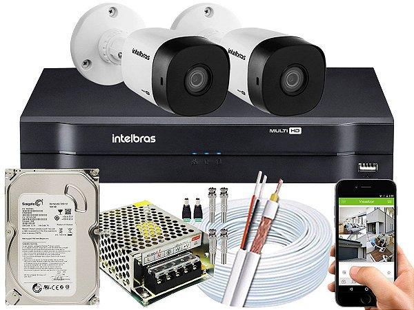 Kit CFTV Intelbras 02 Câmeras VHD 1120 B G5 e DVR de 04 Canais MHDX 1104 500GB 5A