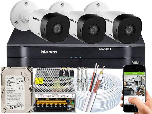 Kit CFTV Intelbras 03 Câmeras VHD 1120 B G5 e DVR de 04 Canais MHDX 1104 10A