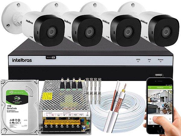 Kit CFTV Intelbras 04 Câmeras VHD 1120 B G5 e DVR de 04 Canais MHDX 3104 1TB 10A