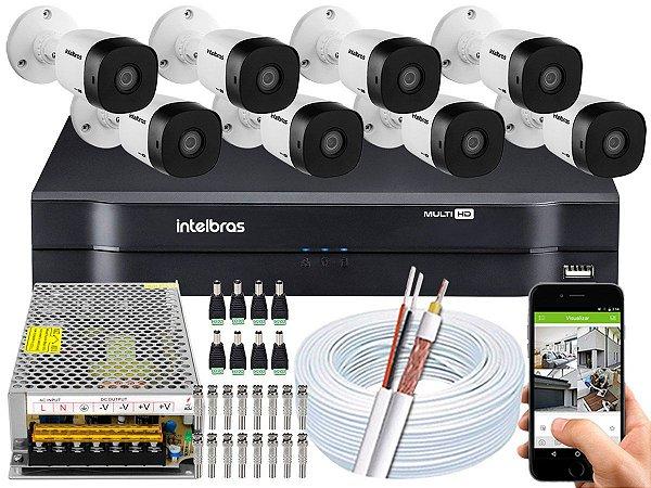 Kit CFTV Intelbras 08 Câmeras VHD 1120 B G5 e DVR de 08 Canais MHDX 1108 Sem HD