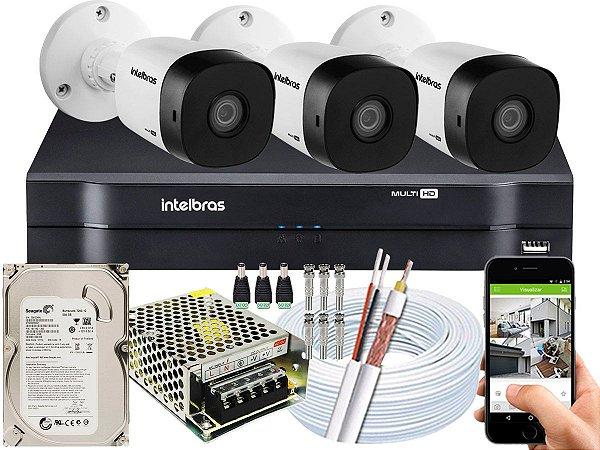 Kit CFTV Intelbras 03 Câmeras VHD 3130 B G5 e DVR de 04 Canais MHDX 1104 500GB
