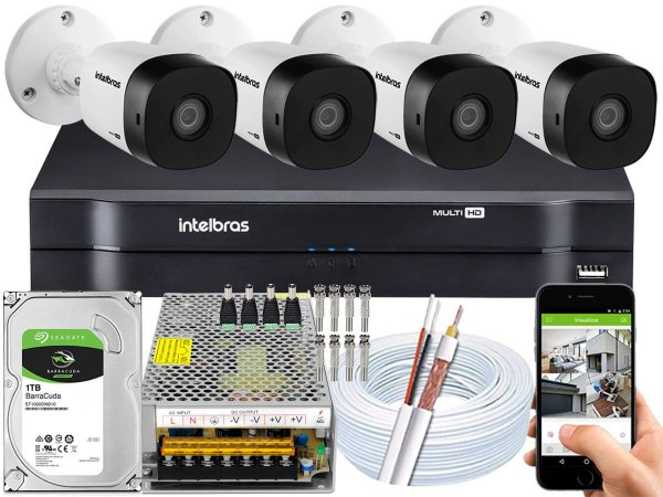 Kit CFTV Intelbras 04 Câmeras VHD 1010 B G5 e DVR de 04 Canais MHDX 1104 1TB 10A