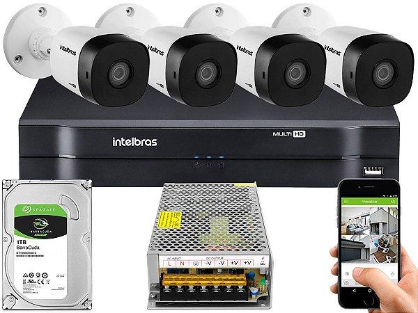 Kit CFTV Intelbras 04 Câmeras VHD 1010 B G5 e DVR de 04 Canais MHDX 1104 1TB Sem Cabo 10A