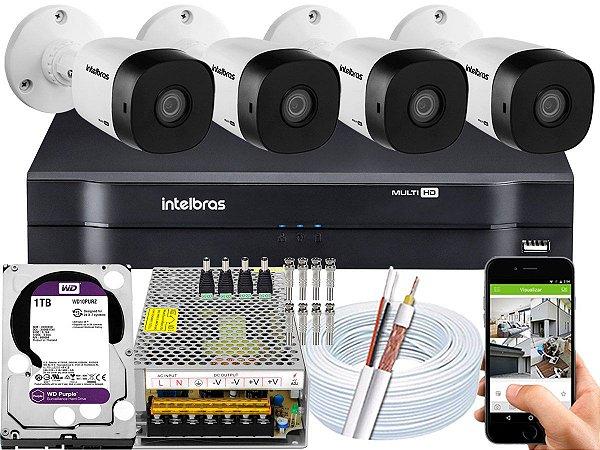 Kit CFTV Intelbras 04 Câmeras VHD 1010 B G5 e DVR de 04 Canais MHDX 1104 1TB WD Purple 10A