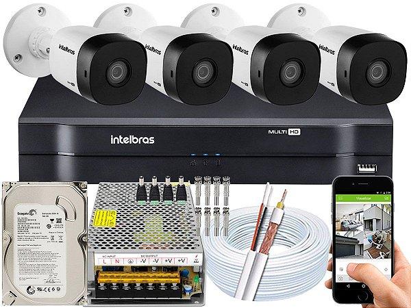 Kit CFTV Intelbras 04 Câmeras VHD 1010 B G5 e DVR de 04 Canais MHDX 1104 500GB 10A