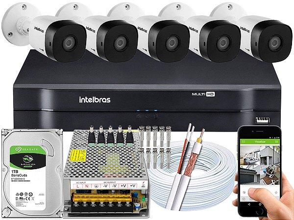 Kit CFTV Intelbras 05 Câmeras VHD 1010 B G5 e DVR de 08 Canais MHDX 1108 10A