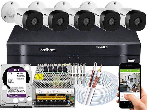 Kit CFTV Intelbras 05 Câmeras VHD 1010 B G5 e DVR de 08 Canais MHDX 1108 1TB WD Purple 10A