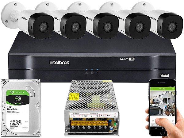 Kit CFTV Intelbras 05 Câmeras VHD 1010 B G5 e DVR de 08 Canais MHDX 1108 Sem Cabo 10A
