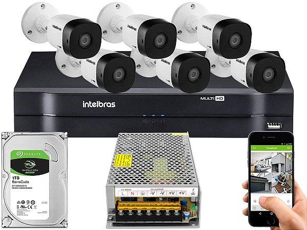 Kit CFTV Intelbras 06 Câmeras VHD 1010 B G5 e DVR de 08 Canais MHDX 1108 Sem Cabo 10A