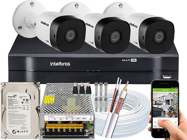 Kit CFTV Intelbras 03 Câmeras VHD 1010 B G5 e DVR de 04 Canais MHDX 1104 500GB 10A