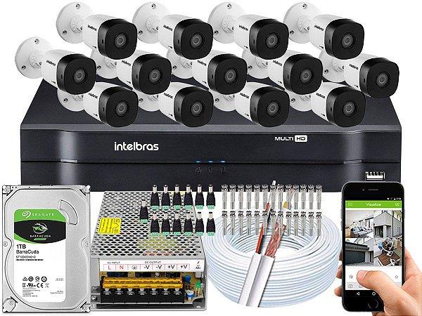 Kit CFTV Intelbras 13 Câmeras VHD 1010 B G5 e DVR de 16 Canais MHDX 1116
