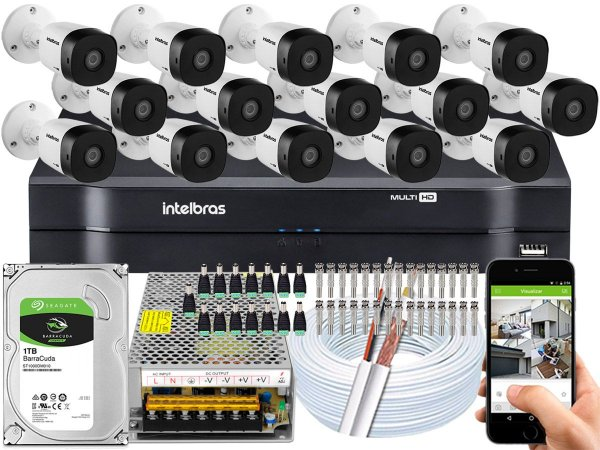 Kit CFTV Intelbras 15 Câmeras VHD 1010 B G5 e DVR de 16 Canais MHDX 1116