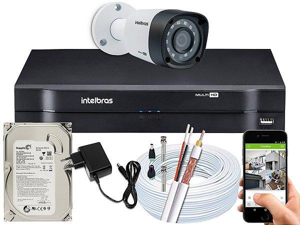 Kit CFTV Intelbras 01 Câmera VHD 1220 B G4 e DVR de 04 Canais MHDX 1104 500GB