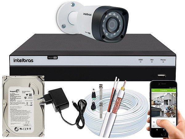 Kit CFTV Intelbras 01 Câmera VHD 1220 B G4 e DVR de 04 Canais MHDX 3104 500GB