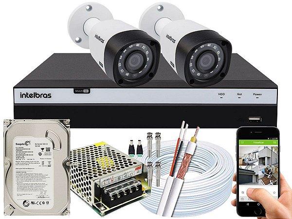 Kit CFTV Intelbras 02 Câmeras VHD 3230 B G4 e DVR de 04 Canais MHDX 3104 500GB 5A