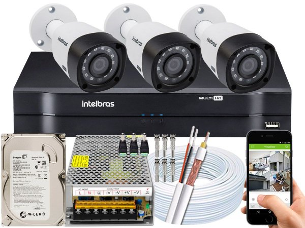 Kit CFTV Intelbras 03 Câmeras VHD 3230 B G4 e DVR de 04 Canais MHDX 1104 10A