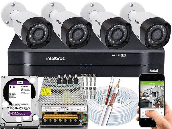 Kit CFTV Intelbras 04 Câmeras VHD 3230 B G4 e DVR de 04 Canais MHDX 1104 1TB WD Purple 10A