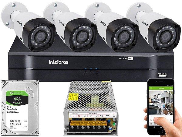 Kit CFTV Intelbras 04 Câmeras VHD 3230 B G4 e DVR de 04 Canais MHDX 1104 Sem Cabo 10A