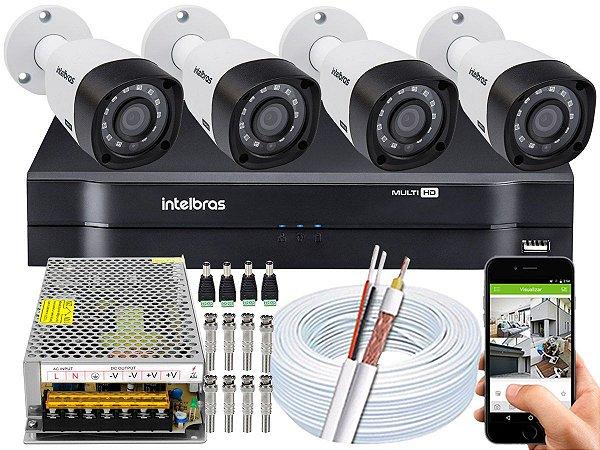 Kit CFTV Intelbras 04 Câmeras VHD 3230 B G4 e DVR de 04 Canais MHDX 1104 Sem HD 10A