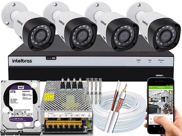 Kit CFTV Intelbras 04 Câmeras VHD 3230 B G4 e DVR de 04 Canais MHDX 3104 2TB WD Purple 10A
