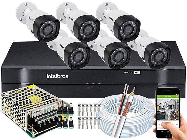 Kit CFTV Intelbras 06 Câmeras VHD 3230 B G4 e DVR de 08 Canais MHDX 1108 Sem HD
