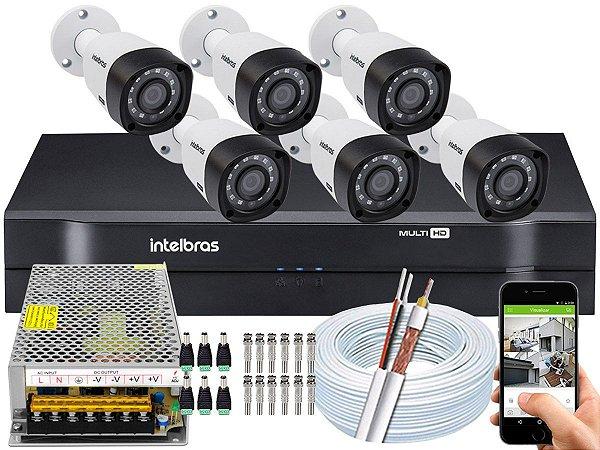 Kit CFTV Intelbras 06 Câmeras VHD 3230 B G4 e DVR de 08 Canais MHDX 1108 Sem HD 10A
