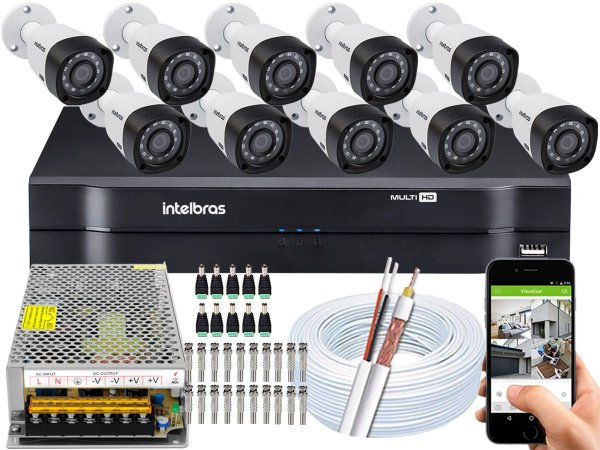 Kit CFTV Intelbras 10 Câmeras VHD 3230 B G4 e DVR de 16 Canais MHDX 1116 Sem HD
