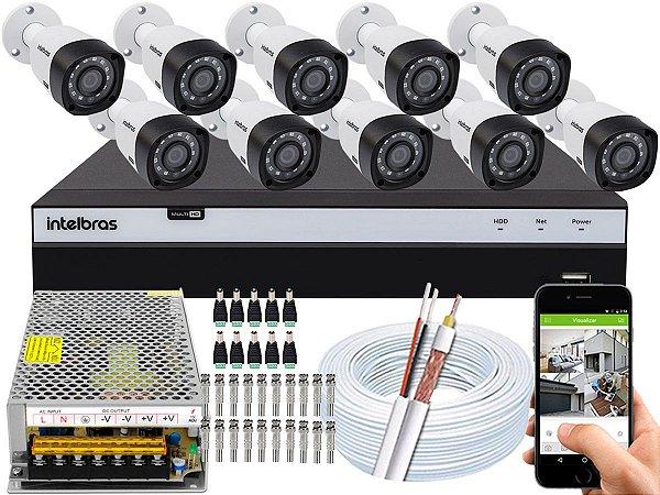 Kit CFTV Intelbras 10 Câmeras VHD 3230 B G4 e DVR de 16 Canais MHDX 3116 Sem HD