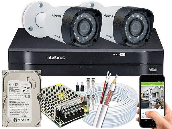 Kit CFTV Intelbras 02 Câmeras VHD 1220 B G4 e DVR de 04 Canais MHDX 1104 500GB 5A
