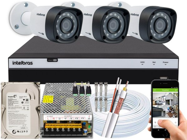 Kit CFTV Intelbras 03 Câmeras VHD 1220 B G4 e DVR de 04 Canais MHDX 3104 10A