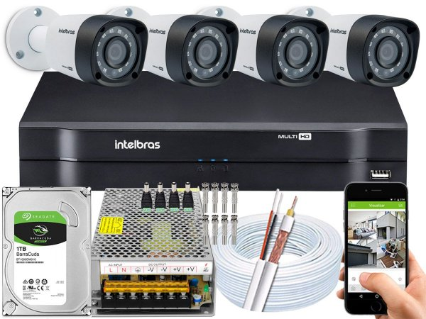 Kit CFTV Intelbras 04 Câmeras VHD 1220 B G4 e DVR de 04 Canais MHDX 1104 10A
