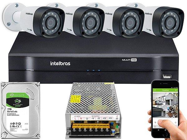 Kit CFTV Intelbras 04 Câmeras VHD 1220 B G4 e DVR de 04 Canais MHDX 1104 Sem Cabo 10A