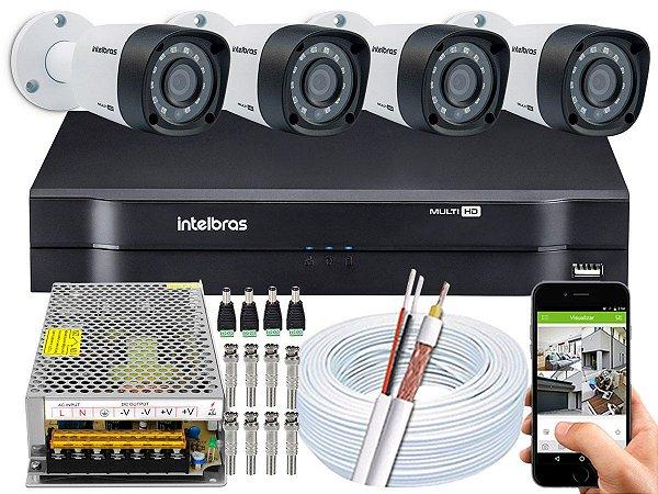 Kit CFTV Intelbras 04 Câmeras VHD 1220 B G4 e DVR de 04 Canais MHDX 1104 Sem HD 10A