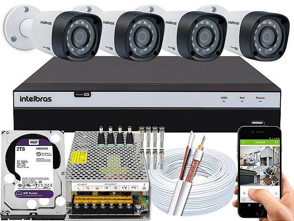 Kit CFTV Intelbras 04 Câmeras VHD 1220 B G4 e DVR de 04 Canais MHDX 3104 2TB WD Purple 10A