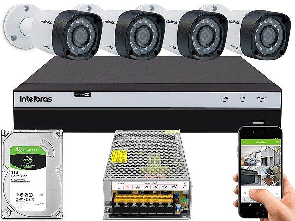 Kit CFTV Intelbras 04 Câmeras VHD 1220 B G4 e DVR de 04 Canais MHDX 3104 Sem Cabo 10A