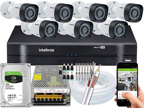 Kit CFTV Intelbras 07 Câmeras VHD 1220 B G4 e DVR de 08 Canais MHDX 1108