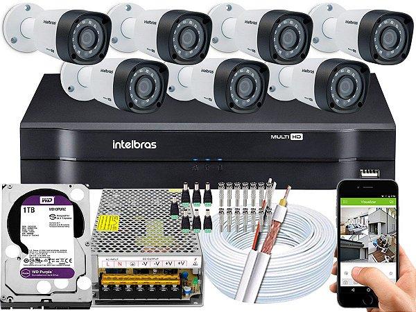 Kit CFTV Intelbras 07 Câmeras VHD 1220 B G4 e DVR de 08 Canais MHDX 1108 1TB WD Purple