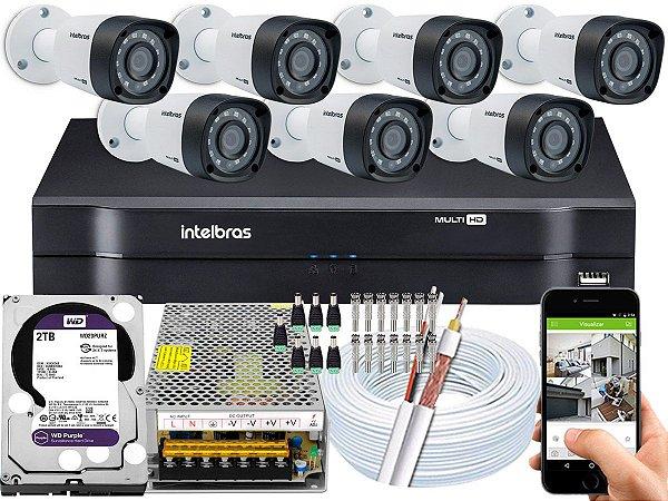 Kit CFTV Intelbras 07 Câmeras VHD 1220 B G4 e DVR de 08 Canais MHDX 1108 2TB WD Purple