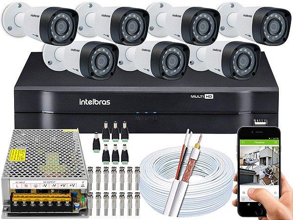 Kit CFTV Intelbras 07 Câmeras VHD 1220 B G4 e DVR de 08 Canais MHDX 1108 Sem HD
