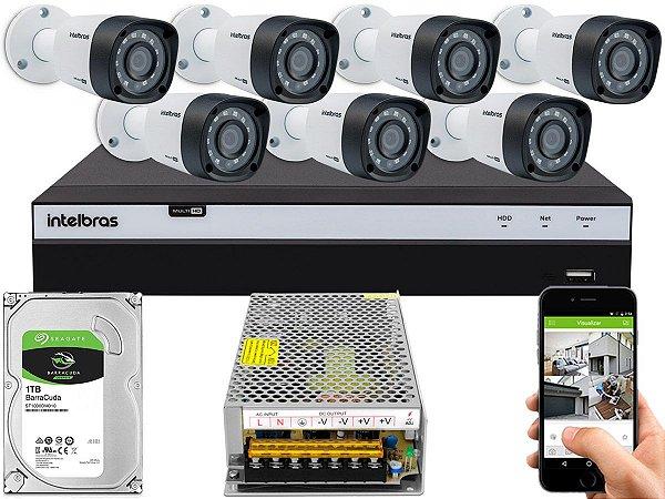 Kit CFTV Intelbras 07 Câmeras VHD 1220 B G4 e DVR de 08 Canais MHDX 3108 Sem Cabo