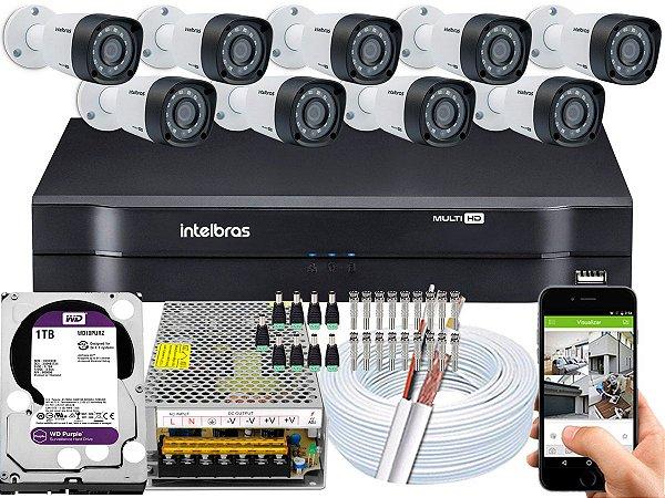 Kit CFTV Intelbras 09 Câmeras VHD 1220 B G4 e DVR de 16 Canais MHDX 1116 1TB WD Purple